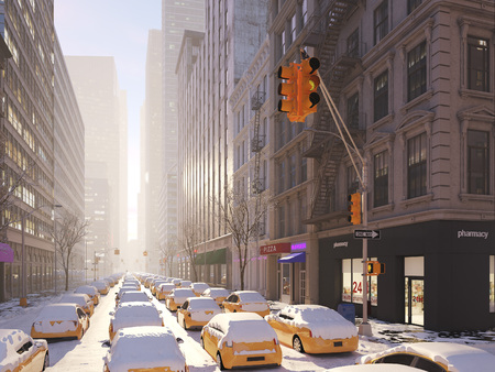 Blizzard in New York city. 3d rendering