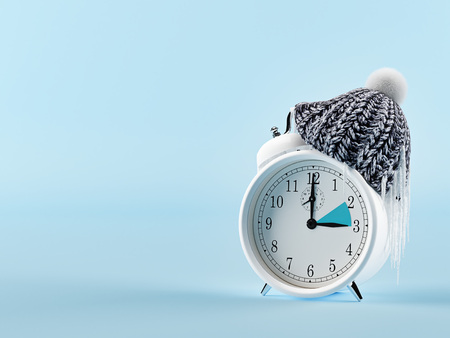 clock changing from summer to winter time. wintertime concept. 3d rendering Archivio Fotografico