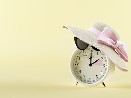 clock changing from winter to summer time. summertime concept. 3d rendering