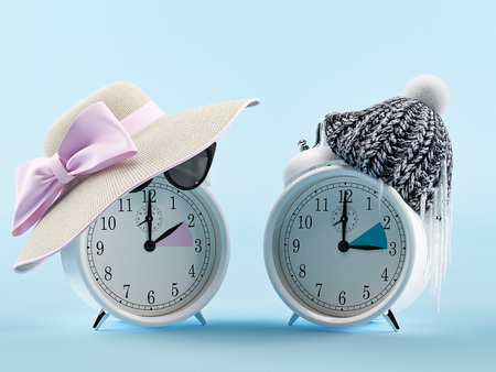 summer time and winter time clock. changing time concept. 3d rendering