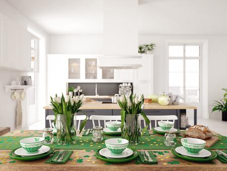 Ustawienie stołu na Dzień Świętego Patryka. koncepcja wakacje. Renderowania 3d Zdjęcie Seryjne