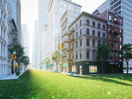 生態学的に大きな都市生活。3D レンダリング