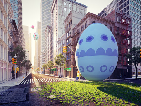 arrival of the easter egg in big city. 3d rendering Stok Fotoğraf