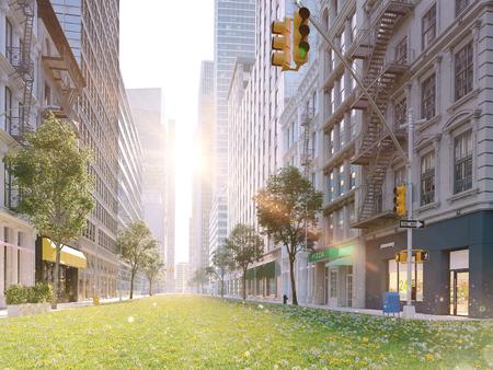 생태 학적으로 큰 도시 생활. 3 차원 렌더링