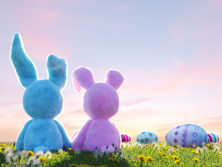two easter rabbits sitting in lawn with easter eggs. 3d rendering Stock Photo