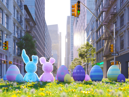 Two rabbits sitting in lawn with Easter eggs in front of big city. 3d rendering Stock Photo