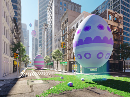 arrival of the easter egg in big city. 3d rendering 写真素材