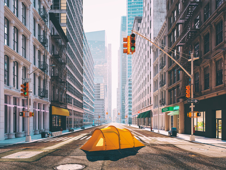 wanderlust in a big city. camping concept. 3d rendering Archivio Fotografico
