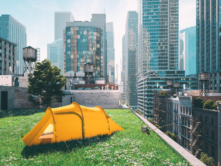 wanderlust in a big city. camping concept. 3d rendering 版權商用圖片