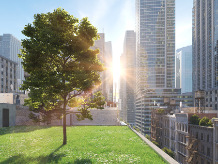 大都会の庭。生きている概念。3D レンダリング