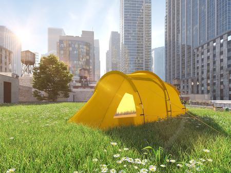 pasión por los viajes en una gran ciudad. concepto de camping Representación 3d Foto de archivo