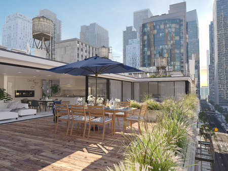 3d rendering. penthouse terrace in a big city. Stock Photo