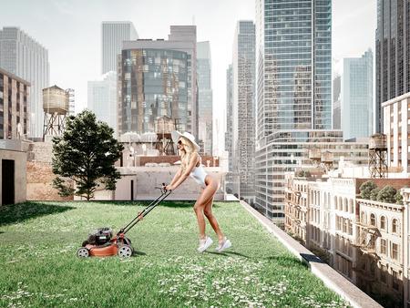 garden in a big city. living concept. 3d rendering Stock Photo - 96880807