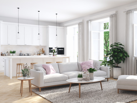 modern living room in townhouse. 3d rendering Archivio Fotografico