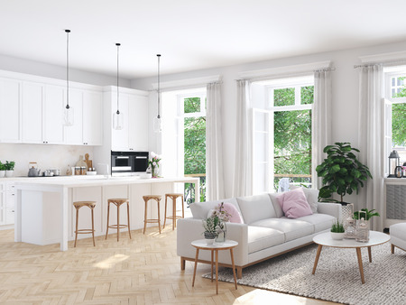 modern living room in townhouse. 3d rendering 스톡 콘텐츠