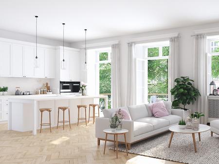 salon moderne dans maison de ville. Rendu 3D
