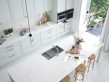 top view modern nordic kitchen in loft apartment. 3D rendering