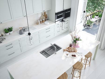 widok z góry nowoczesna kuchnia północna w mieszkaniu na poddaszu. Renderowanie 3D Zdjęcie Seryjne