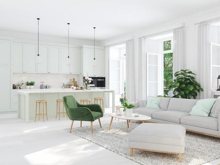 soggiorno moderno in casa a schiera. Rendering 3d