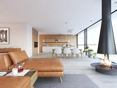 Modern design of loft apartment 写真素材
