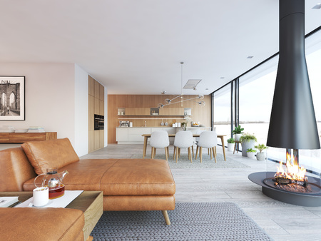 Modern design of loft apartment 스톡 콘텐츠