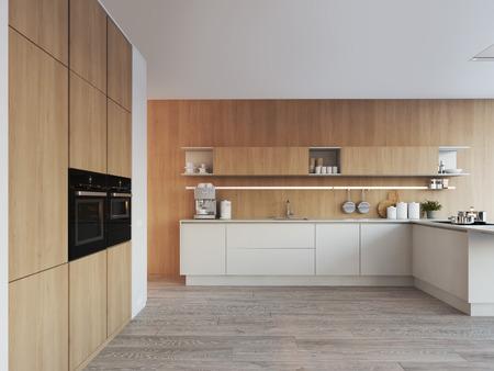 cuisine nordique moderne dans loft rendu 3d rendu