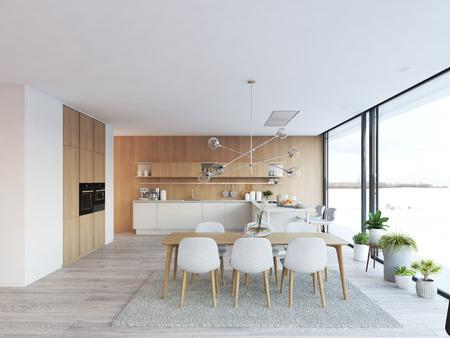 ロフトアパートメントのモダンなノルディックキッチン。3D レンダリング