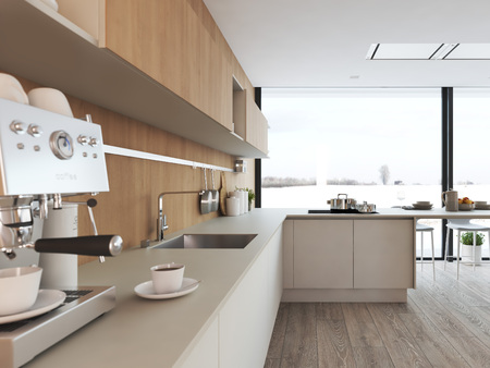 modern nordic kitchen in loft apartment. 3D rendering