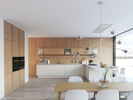 modern nordic kitchen in loft apartment. 3D rendering Zdjęcie Seryjne - 97240227