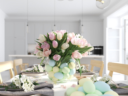 bunch of tulips in a nordic style apartment. 3D rendering Stock Photo