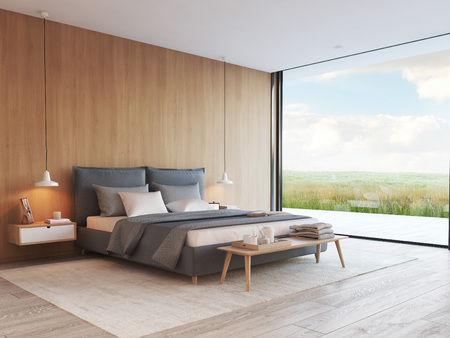 modern bedroom in a apartment with view. 3d rendering Фото со стока