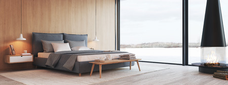 modern bedroom in a apartment with view. 3d rendering 스톡 콘텐츠