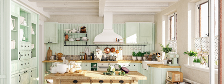 retro kitchen in a cottage with sleeping cat. 3D RENDERING Stockfoto