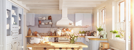 retro kitchen in a cottage with sun flares. 3D RENDERING Stockfoto
