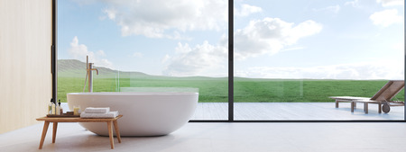 new modern bathroom with a nice view. 3d rendering Imagens