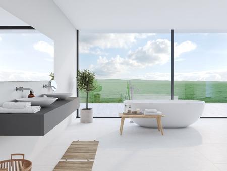 素晴らしい景色を望む新しいモダンなバスルーム。3D レンダリング 写真素材
