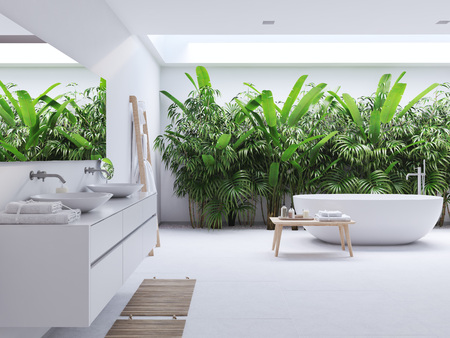 new modern zen bathroom with tropic plants. 3d rendering 写真素材 - 99518703
