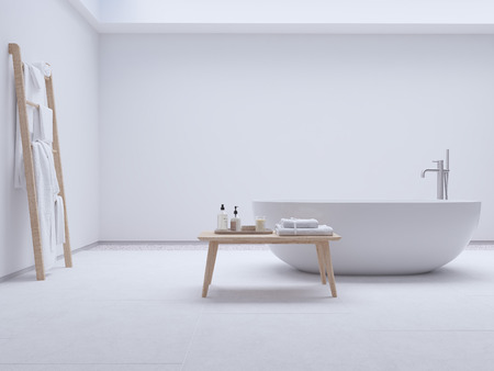 new modern zen bathroom with white wall. 3d rendering Фото со стока - 99518918