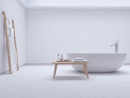 Nouvelle salle de bains moderne et confortable avec le mur blanc. rendu 3d Banque d'images - 99518918