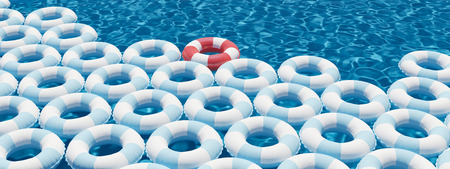 unique red float ring between blue float rings in pool. 3d rendering Stock Photo