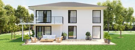大きなプロパティを持つ近代的な新しい家。3D レンダリング