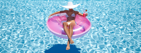 woman swimming on float in a pool. 3d rendering Stock Photo