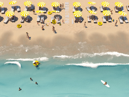 aerial top view on the beach with lots of beach umbrella. 3D rendering 스톡 콘텐츠