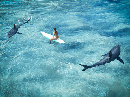 surfer surrounded from two sharks. drone view. 3d rendering
