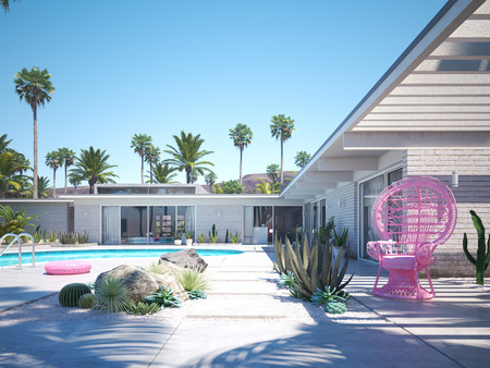 beautiful vacation estate with a pool. 3d rendering