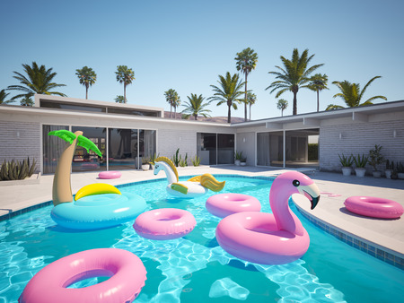 3D rendering. a lot of different floats in a pool