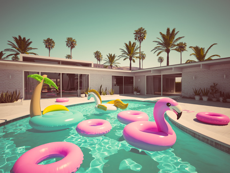3D rendering. a lot of different floats in a pool. retro style