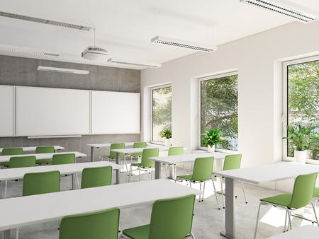 Leeg klaslokaal. 3D-weergave Stockfoto - 102635021