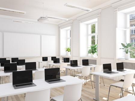 empty school classroom. 3d rendering