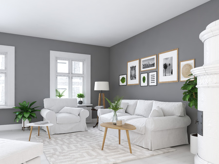 living room with picture frames and fireplace. 3d rendering 스톡 콘텐츠